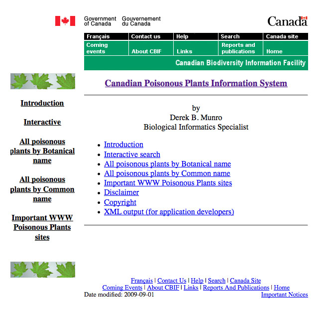 Canadian poisonous plants database