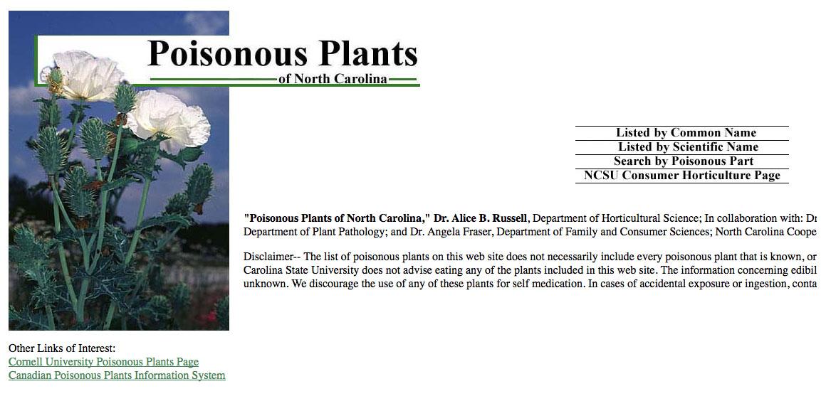 Poisonous plants of NC