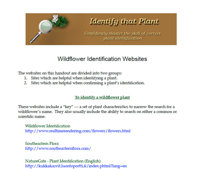 Wildflower identification websites