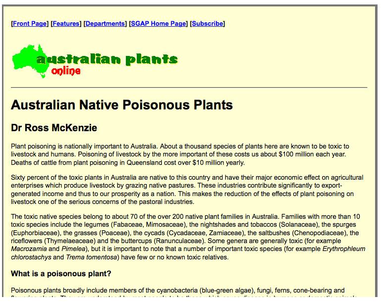 Australian native poisonous plants