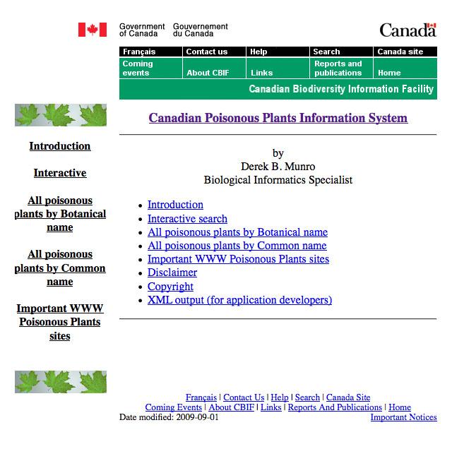 Canadian poisonous plants database