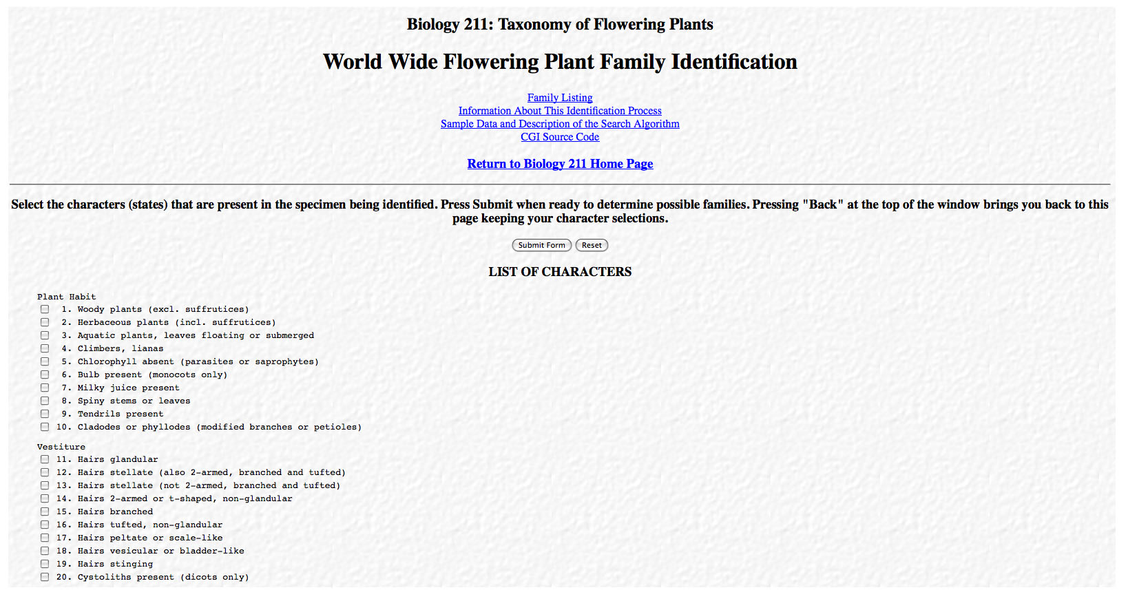 World Wide Flowering Plant Family ID
